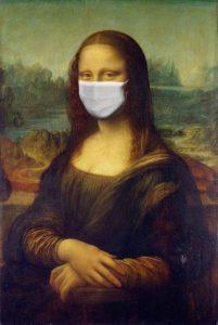 Bild von Mona Lisa mit Schutzmaske
